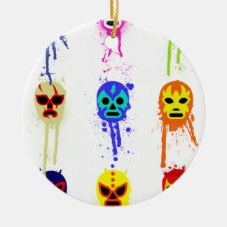 Goteo de lucha mexicano de la pintura de la adorno navideño redondo de cerámica