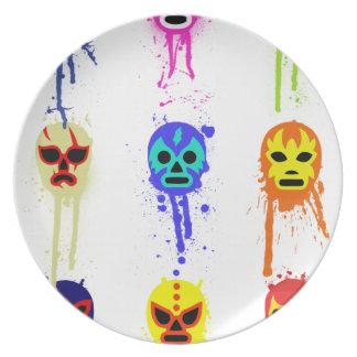 Goteo de lucha mexicano de la pintura de la máscar platos de comidas
