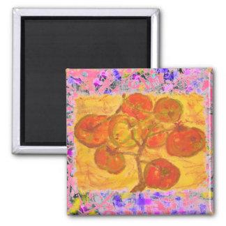 goteo del watercolour del racimo del tomate imán cuadrado