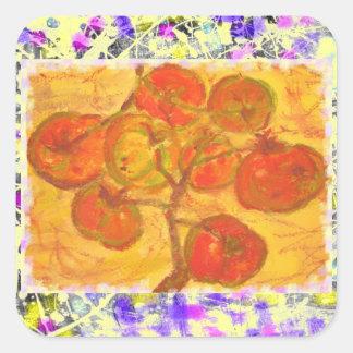 goteo del watercolour del racimo del tomate pegatina cuadrada