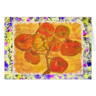 goteo del watercolour del racimo del tomate tarjeta de felicitación