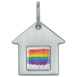 Goteo distressed.png del arco iris placa de nombre de mascota