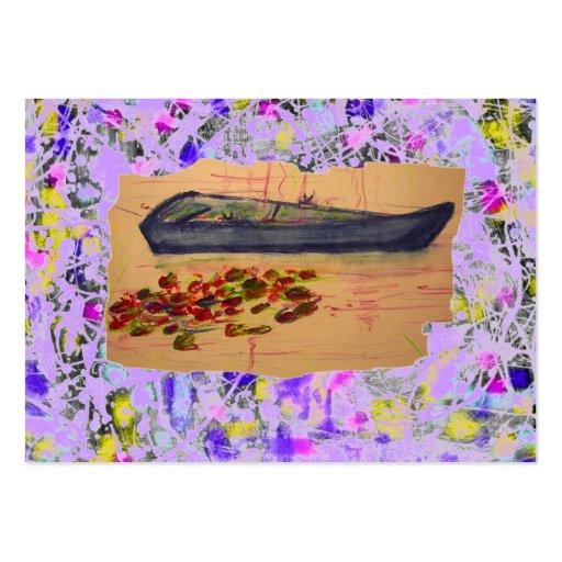 goteo rasgado del bosquejo de los lirios del barco tarjetas personales