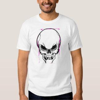 Goteo rosado T blanco del cráneo Remeras