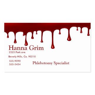 Goteo sangriento de la sangre plantilla de tarjeta de visita