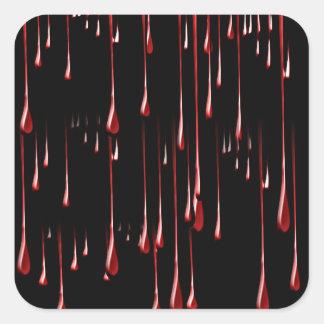 Goteos sangrientos en fondo negro pegatina cuadradas personalizadas