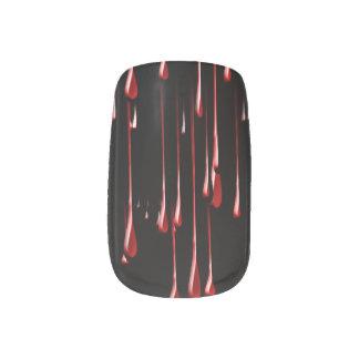 Goteos sangrientos en fondo negro pegatina para manicura