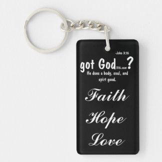 gotGod316.com faith hope love Keychain