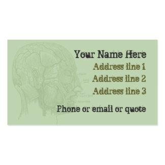 Goth Anatomy Head Business Card Green