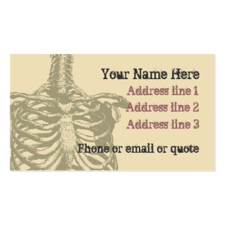 Goth Anatomy Ribcage Business Card Tan 2