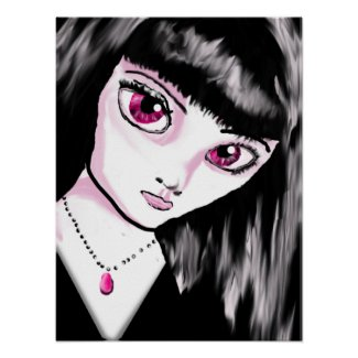 Goth Anime Girl Poster print