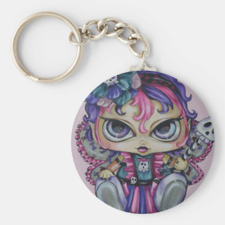 Goth Baby Fae Skull Big Eyed Fantasy Art Keychain