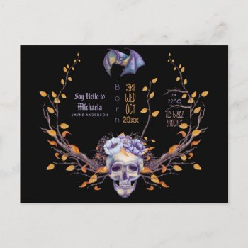 GOTH Baby Stats Arrival Announcement Halloween Postcard