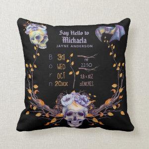 GOTH Baby Stats Skulls Purple Black Halloween Girl Throw Pillow
