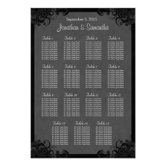Goth Black and Gray 15 Wedding Table Seating Chart Poster