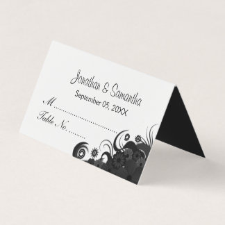 Goth Black and White Hibiscus Floral Folded Table Place Card