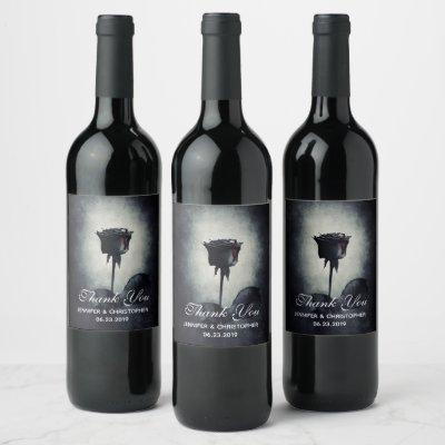 Goth Black Rose Dripping Blood Macabre Wedding Wine Label