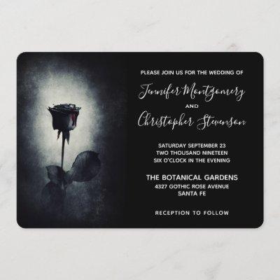Goth Black Rose Dripping Blood on Black Wedding Invitation