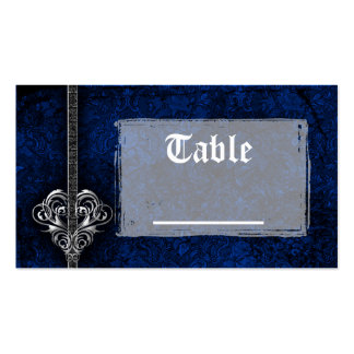 Goth Blue Damask Silver Heart Reception Double-Sided Standard Business Cards (Pack Of 100)