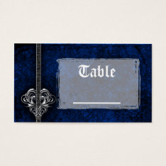 Goth Blue Damask Silver Heart Reception Business Card at Zazzle