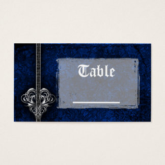 Goth Blue Damask Silver Heart Reception Business Card