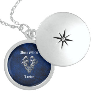 Goth Blue Damask Silver Heart Wedding Locket