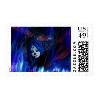 Goth Blue & Purple Day of the Dead Skeletal Stamp