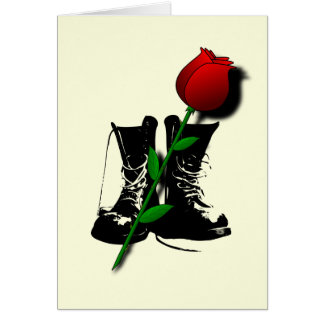 Goth Boots, Lover's Rose blank notelet Greeting Card