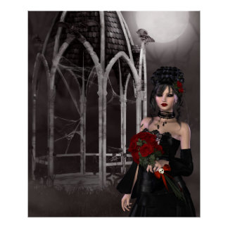 Goth bride & roses by spooky Gothic gazebo Poster