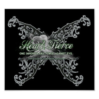Goth Butterfly Silver-Pastel Green Blk Poster