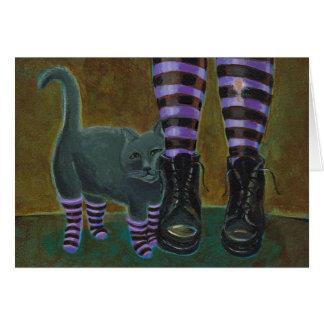 Goth cat art boots striped socks fun cute urban card
