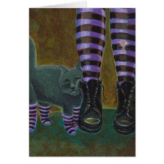 Goth cat art boots striped socks fun painting card