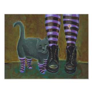 Goth cat art boots striped socks fun painting card