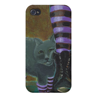 Goth cat art boots striped socks fun painting covers for iPhone 4