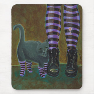 Goth cat art boots striped socks funky cute urban mouse pad