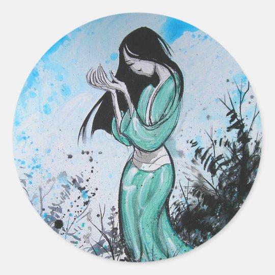 Goth China Girl Classic Round Sticker