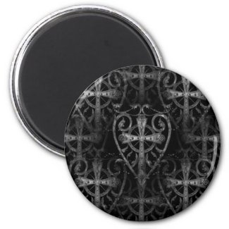goth cross in heart magnet