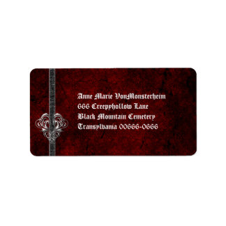 Goth Damask Silver Heart Address Label