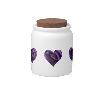 Goth Dark Purple Rose Heart Candy Dish