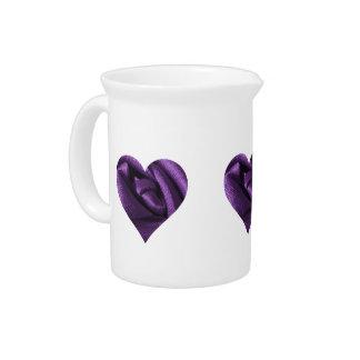 Goth Dark Purple Rose Heart Drink Pitcher