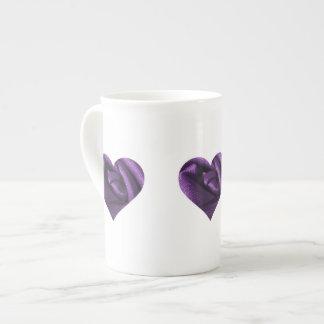 Goth Dark Purple Rose Heart Porcelain Mug