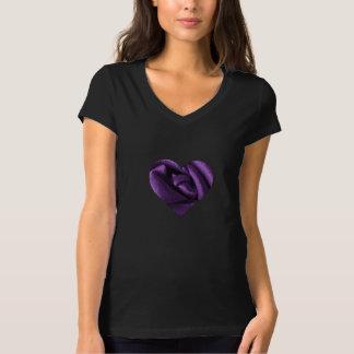 Goth Dark Purple Rose Heart T-Shirt
