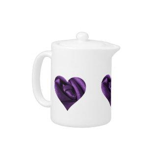 Goth Dark Purple Rose Heart Teapot