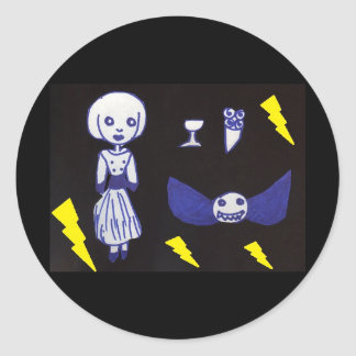 Goth Doll Classic Round Sticker