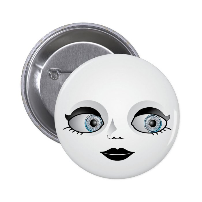 Goth Doll Face Pinback Button