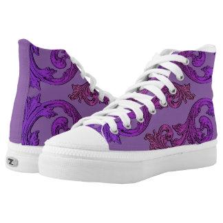 Goth Elegant Ornate Purple Design High-Top Sneakers
