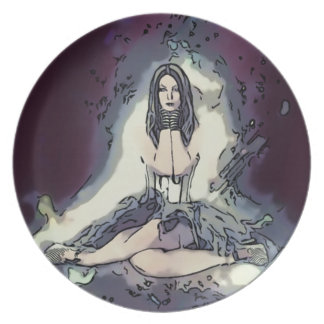 Goth Emo Style Striped Girl Dinner Plate