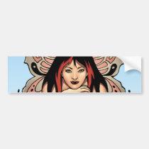 goth, gothic, fairy, fairies, flowers, purple, butterfly, wings, punk, art, al rio, illustration, Bumper Sticker with custom graphic design