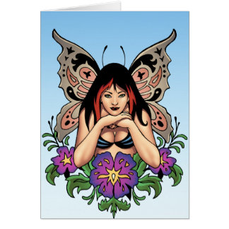 Goth Fairy with Flowers, Butterfly Wings by Al Rio Greeting Card