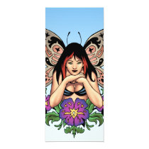 goth, gothic, fairy, fairies, flowers, purple, butterfly, wings, punk, art, al rio, illustration, Convite com design gráfico personalizado